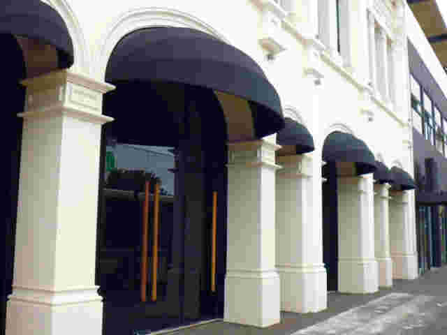Fixed Frame Awnings - Black Canvas Fixed Frame awnings over entrance (1) copy.jpg