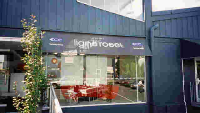 Fixed Frame Awnings - Fixed Frame wedge awning with mesh fabric cover over Lighting store showroom window in Auckland copy.jpg